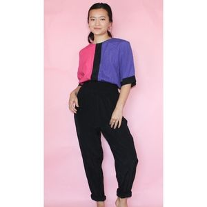 (346) vtg 80s colorblock jumpsuit